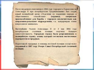 После неудачного покушения в 1866 году террориста Каракозова на Александра I