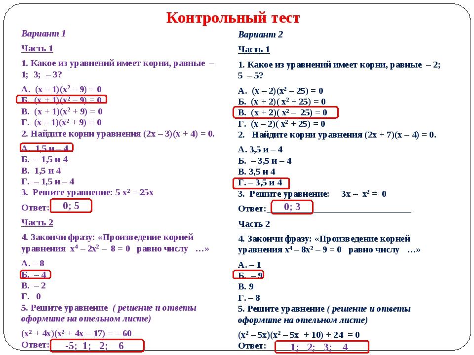 Вариант 1 Часть 1 1. Какое из уравнений имеет корни, равные – 1; 3; – 3? А...