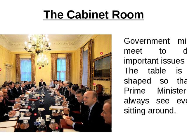 The Cabinet Room Government ministers meet to discuss important issues there....