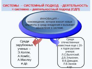 СИСТЕМЫ → СИСТЕМНЫЙ ПОДХОД →ДЕЯТЕЛЬНОСТЬ = системно – деятельностный подход