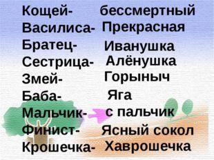 Кощей- Василиса- Братец- Сестрица- Змей- Баба- Мальчик- Финист- Крошечка- бес