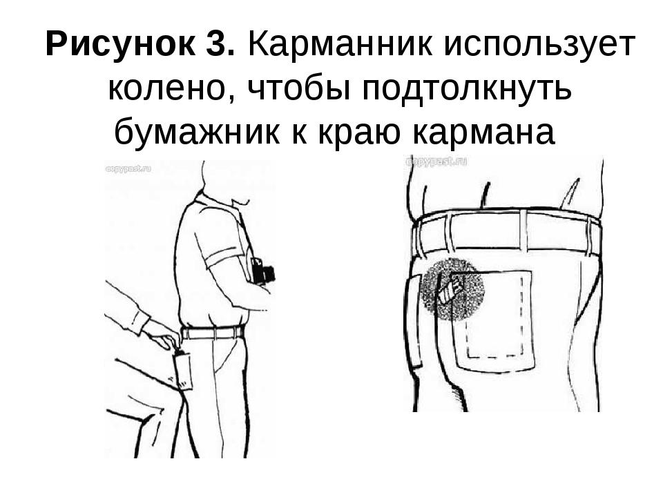 Рисунок 3. Карманник использует колено, чтобы подтолкнуть бумажник к краю кар...