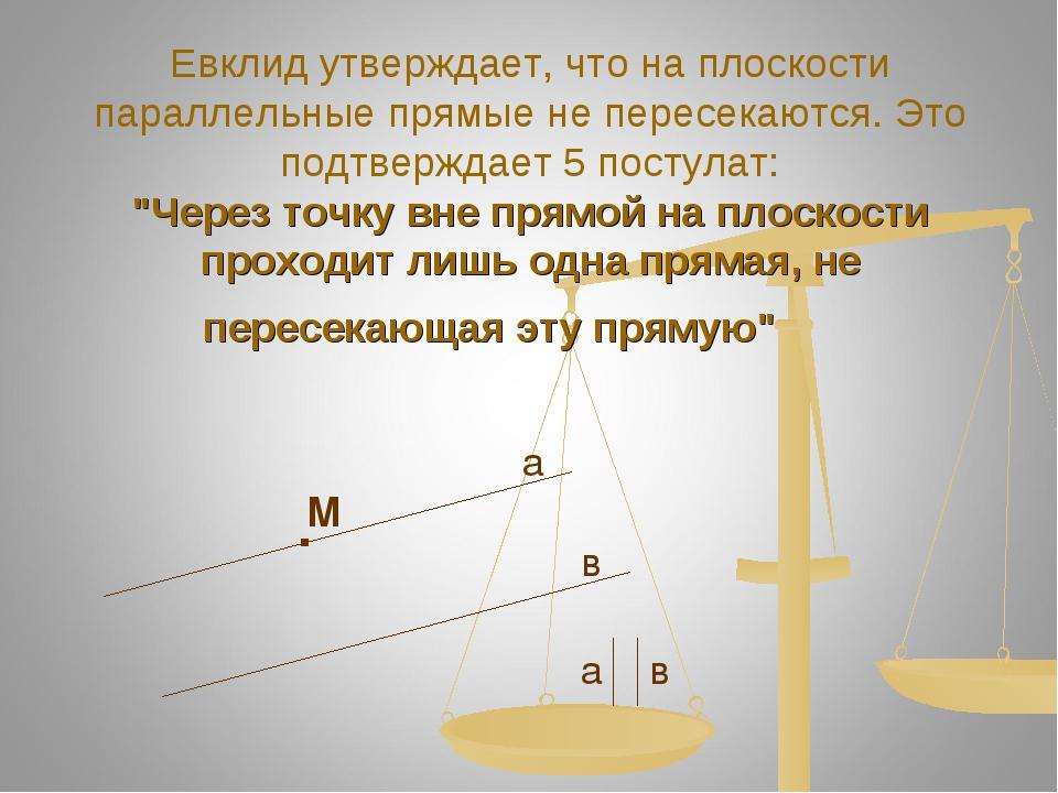 Евклид утверждает, что на плоскости параллельные прямые не пересекаются. Это...