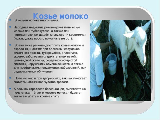 Козье молоко В козьем молоке много калия. Народная медицина рекомендует пить...