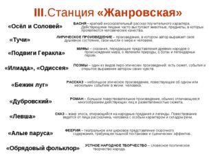 III.Станция «Жанровская» «Осёл и Соловей» «Тучи» «Подвиги Геракла» «Илиада»,