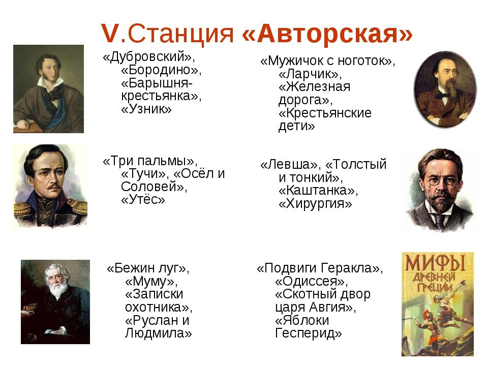 V.Станция «Авторская» «Дубровский», «Бородино», «Барышня-крестьянка», «Узник»...