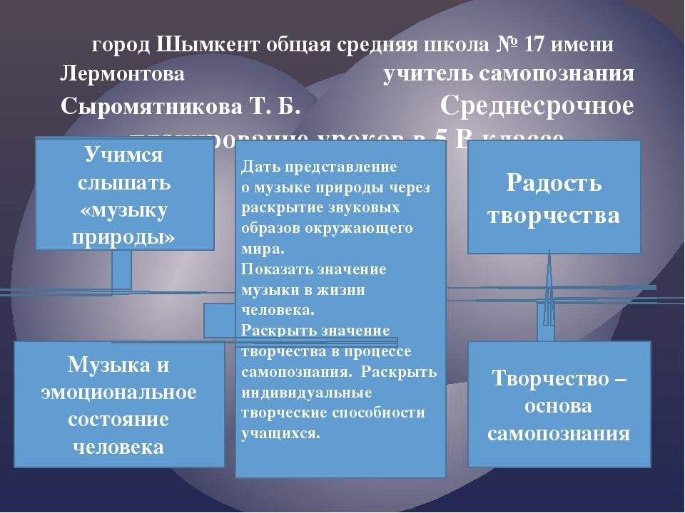 город Шымкент общая средняя школа № 17 имени Лермонтова учитель самопознания...
