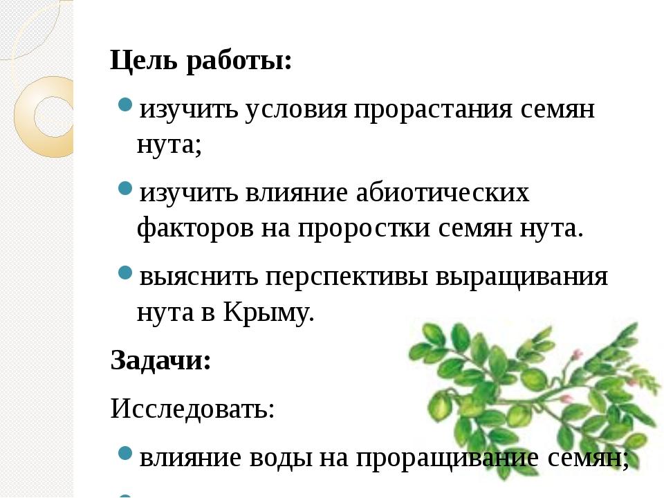 Цель работы: изучить условия прорастания семян нута; изучить влияние абиотиче...
