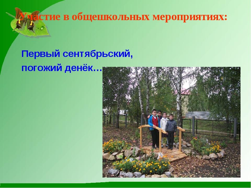 Участие в общешкольных мероприятиях: Первый сентябрьский, погожий денёк…