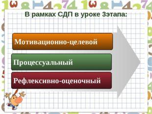 В рамках СДП в уроке 3этапа: Мотивационно-целевой Процессуальный Рефлексивно-