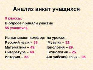 Анализ анкет учащихся 6 классы. В опросе приняли участие 55 учащихся. Испытыв