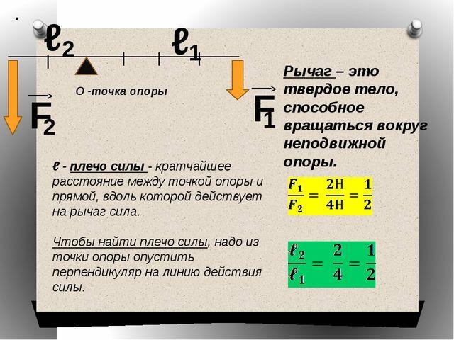О -точка опоры ℓ - плечо силы - кратчайшее расстояние между точкой опоры и пр...