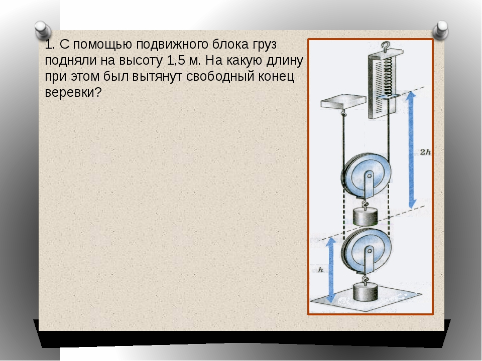 1. С помощью подвижного блока груз подняли на высоту 1,5 м. На какую длину пр...