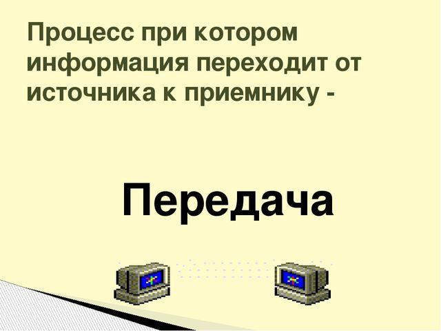 Процесс при котором информация переходит от источника к приемнику - Передача