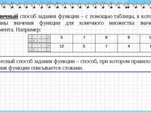 Табличный способ задания функции – с помощью таблицы, в которой указаны значе