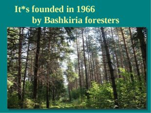 It*s founded in 1966 by Bashkiria foresters