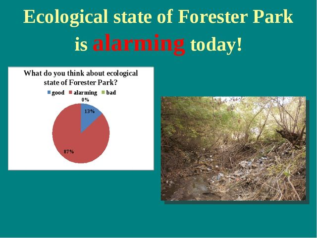Ecological state of Forester Park is alarming today!