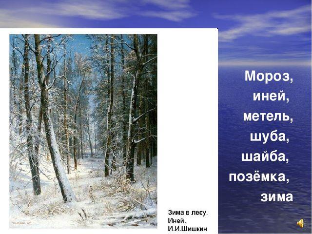 Мороз, иней, метель, шуба, шайба, позёмка, зима