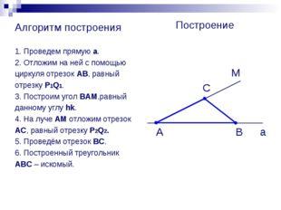 Алгоритм построения 1. Проведем прямую а. 2. Отложим на ней с помощью циркуля