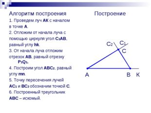 Алгоритм построения 1. Проведем луч АК с началом в точке А. 2. Отложим от нач