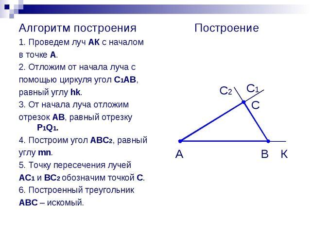 Алгоритм построения 1. Проведем луч АК с началом в точке А. 2. Отложим от нач...