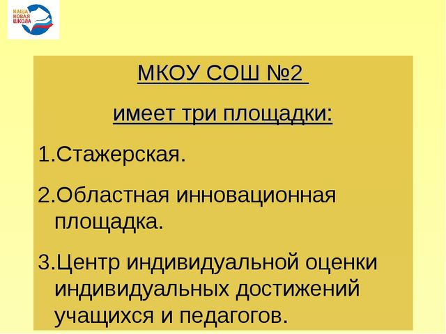 МКОУ СОШ №2 имеет три площадки: Стажерская. Областная инновационная площадка....
