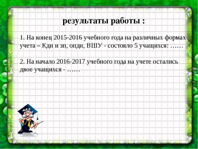 результаты работы : 1. На конец 2015-2016 учебного года на различных формах у...