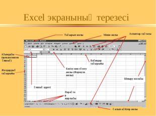 Excel экранының терезесі