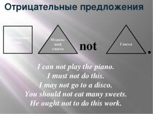 Отрицательные предложения not Действующее лицо Модаль-ный глагол Глагол I can