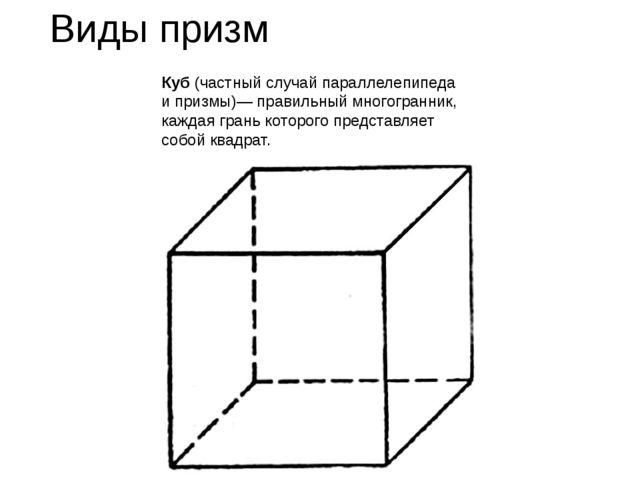 Виды призм Куб (частный случай параллелепипеда и призмы)— правильный многогра...