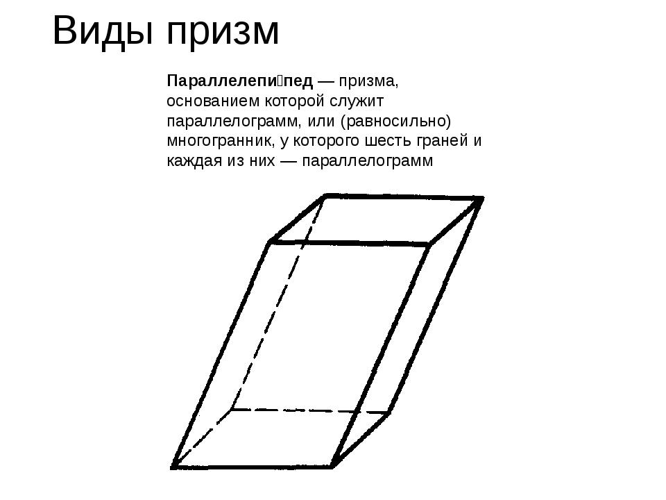 Виды призм Параллелепи́пед— призма, основанием которой служит параллелограмм...