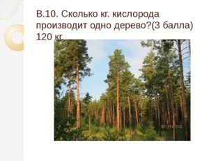 В.10. Сколько кг. кислорода производит одно дерево?(3 балла) 120 кг.