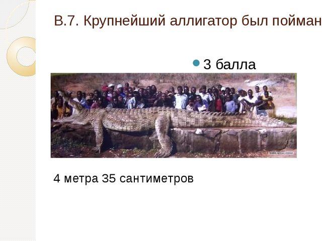 В.7. Крупнейший аллигатор был пойман во Флориде (США), какова его длина? 3 ба...