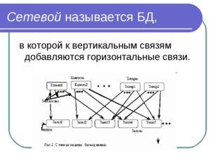 Сетевой называется БД, в которой к вертикальным связям добавляются горизонтал