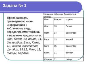 Задача № 1 Преобразовать приведенную ниже информацию к табличному виду, опред