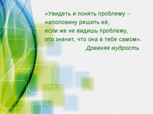 «Увидеть и понять проблему – наполовину решить её, если же не видишь проблему