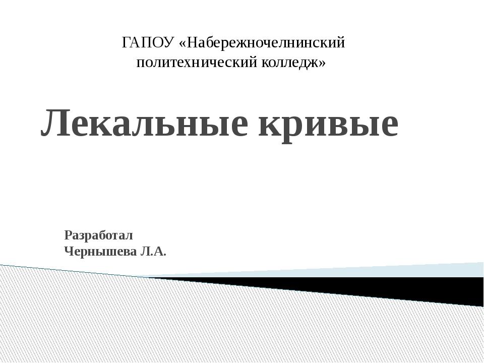 Лекальные кривые Разработал Чернышева Л.А. ГАПОУ «Набережночелнинский политех...