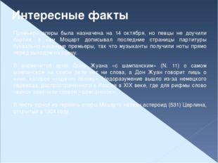 Интересные факты Премьера оперы была назначена на 14 октября, но певцы не доу
