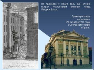 На премьере у Праге роль Дон Жуана сыграл итальянский оперный певец Луиджи Ба