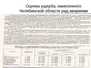 Оценка ущерба, нанесенного Челябинской области рад.авариями