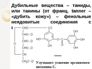 Дубильные вещества – таниды, или танины (от франц. tanner – «дубить кожу») –