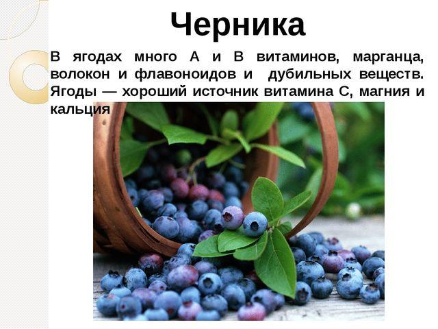 Черника В ягодах много A и В витаминов, марганца, волокон и флавоноидов и дуб...
