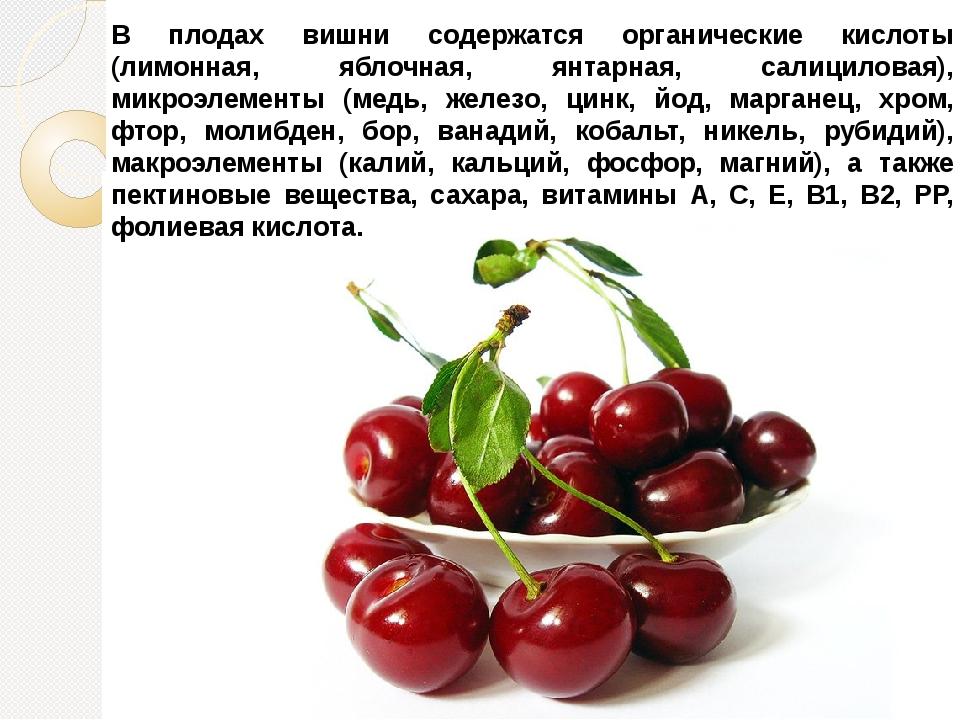 В плодах вишни содержатся органические кислоты (лимонная, яблочная, янтарная,...