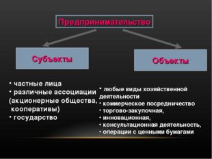 Предпринимательство Субъекты Объекты частные лица различные ассоциации (акцио
