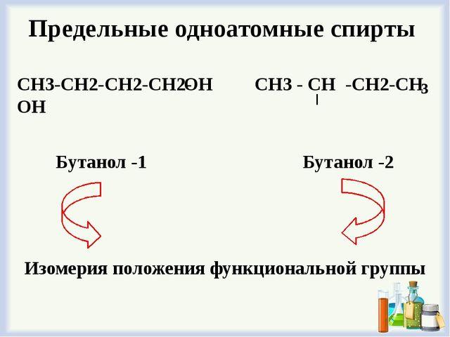 Предельные одноатомные cпирты СН3-СН2-СН2-СН2- ОН СН3 - СН -СН2-СН 3 ОН Бутан...
