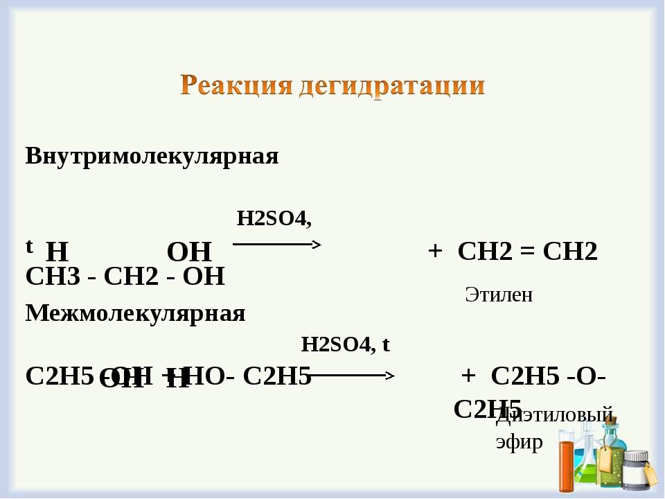 Внутримолекулярная H2SO4, t СН3 - СН2 - ОН ОН Межмолекулярная H2SO4, t С2Н5 -...