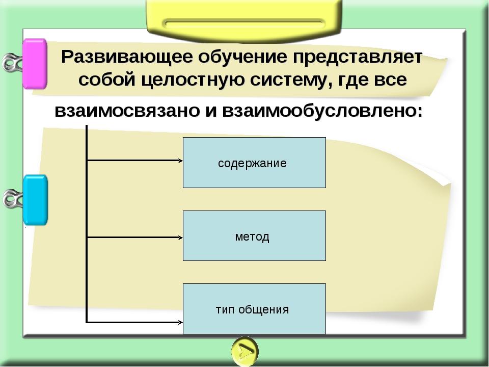 Развивающее обучение представляет собой целостную систему, где все взаимосвя...