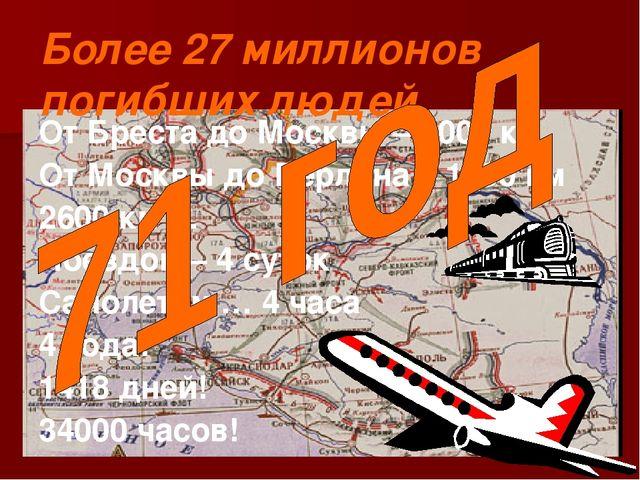 Более 27 миллионов погибших людей От Бреста до Москвы – 1000 км От Москвы до...