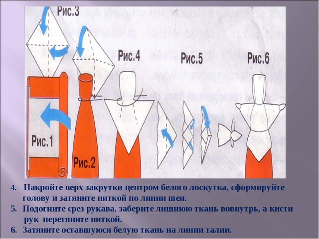 4. Накройте верх закрутки центром белого лоскутка, сформируйте голову и затян...