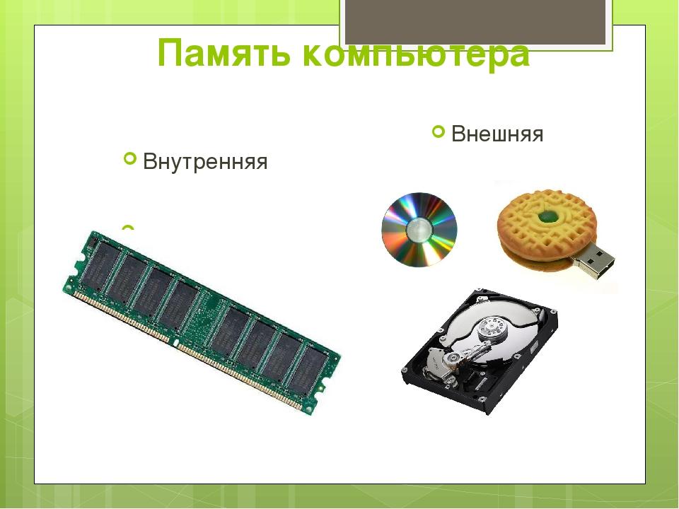 Память компьютера Внутренняя оперативная Внешняя